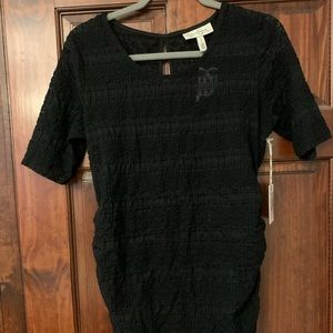 Maternity black texture top
